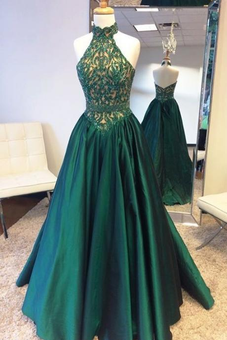 Hunter Green Prom Dress, Beaded Prom Dress, Halter Prom Dress, Backless Prom Dress, Elegant Prom Dress, A Line Prom Dress, Satin Prom Dress, Prom Dresses 2017