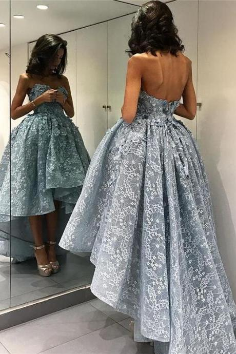 Blue Prom Dress, High Low Prom Dress, Lace Prom Dress, Sweetheart Neck Prom Dress, Rhinestones Prom Dress, Puffy Prom Dress, Prom Dresses 2017, Sexy Formal Party Dress