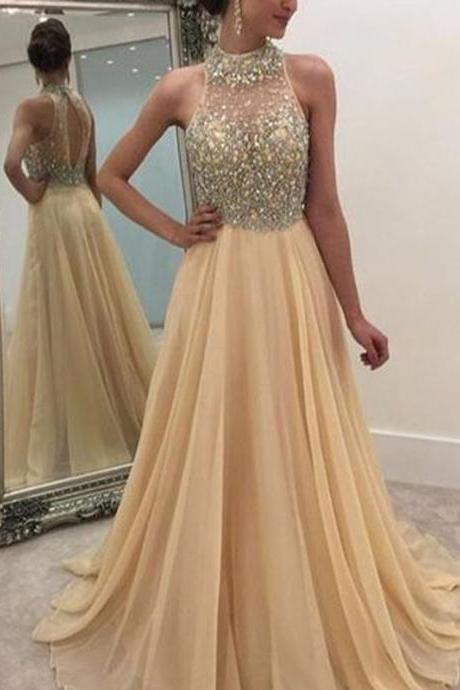 Champagne Prom Dress, Rhinestones Prom Dress, Beaded Prom Dress, A Line Prom Dress, Chiffon Prom Dress, Elegant Prom Dress, Prom Dresses 2017, Long Prom Dress, Cheap Prom Dress, Evening Dresses Prom