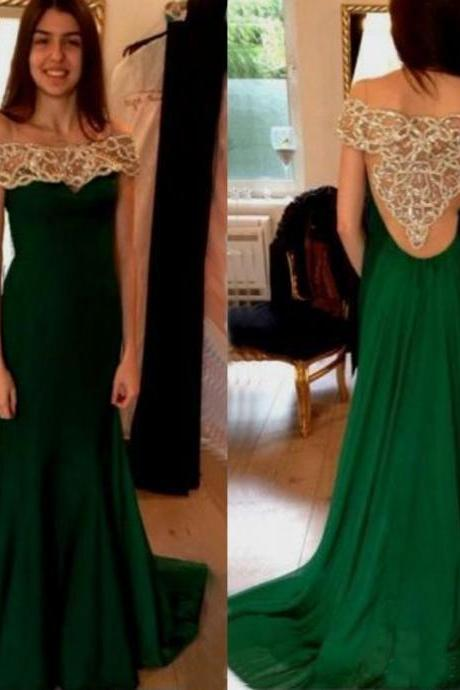 Hunter Green Prom Dress, Beaded Prom Dress, Crystals Prom Dress, Long Prom Dress, Cap Sleeve Prom Dress, Backless Prom Dress, Chiffon Prom Dress, A Line Prom Dress, Off Shoulder Prom Dress
