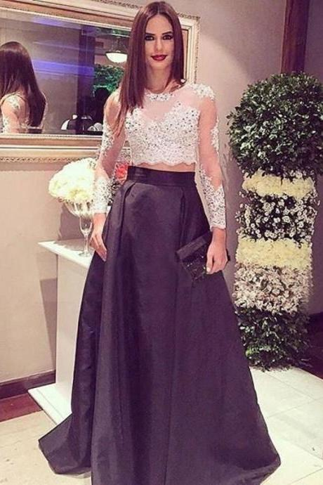 2 Piece Prom Dresses, Long Prom Dresses, Black Prom Dresses, Satin Prom Dresses, Floor Length Prom Dresses, Cheap Prom Dresses, Elegant Prom Dresses, 2017 New Arrival Formal Dresses