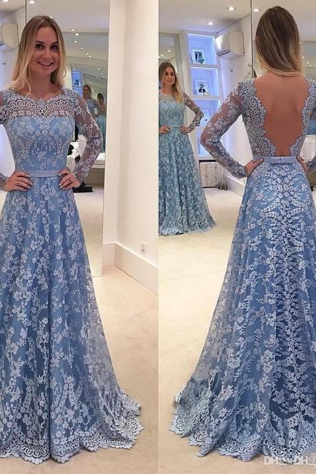 Blue Prom Dress, Lace Prom Dress, A Line Prom Dress, Boat Neck Prom Dress, Long Sleeve Prom Dress, Elegant Prom Dress, Prom Dresses 2017, Cheap Prom Dress, Senior Formal Dresses