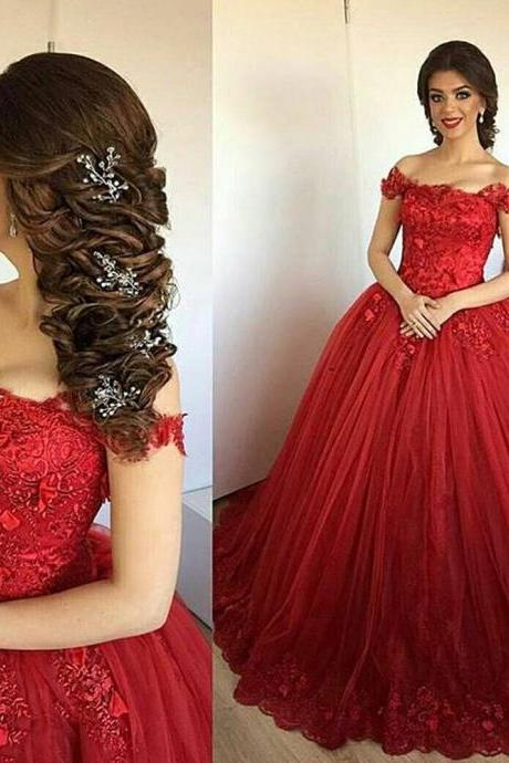 Red Prom Dresses, Sweetheart Evening Gowns, Lace Party Dresses, Custom Make Formal Dresses, Newest Formal Dresses, 2017 Special Occasion Dresses, Ball Gown Evening Dresses, Vestidos de Fiesta, Ball Gown Prom Dresses