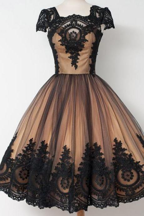 Black Evening Dresses, Tea Length Prom Dresses, Black Evening Dresses, Black Prom Dresses, Cap Sleeve Evening Gowns, Lace Prom Dresses, Lace Evening Dresses, Ball Gown Party Dresses, Tulle Prom Dress, Black Evening Dresses, 2017 Evening Dresses, Fashion Party Dresses