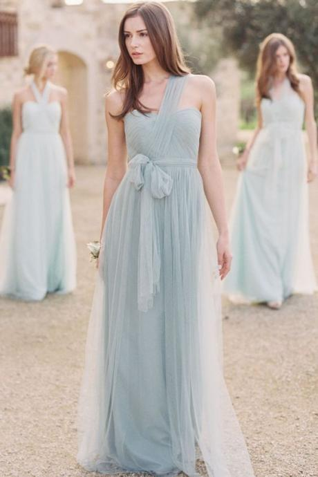 Mint Bridesmaid Dresses, Long Bridesmaid Dresses, Pleats Bridesmaid Dress, One Shoulder Bridesmaid Dress, Tulle Bridesmaid Dress, Blue Bridesmaid Dress, A Line Bridesmaid Dresses, Cheap Maid Of Honor Dresses,2017 Bridesmaid Dress