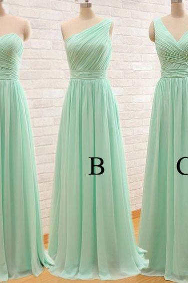 Mint Bridesmaid Dresses, Mint Green Bridesmaid Dresses, Different Style Bridesmaid Dresses, Chiffon Bridesmaid Dress, Pleats Bridesmaid Dresses, A Line Bridesmaid Dresses, Floor Length Maid Of Honor Dresses, Cheap Wedding Guest Dresses, Mint Prom Dresses, Custom Make Evening Dresses