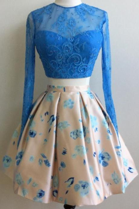 Short Homecoming Dress, Cocktail Party Dresses, Blue Homecoming Dress, Print Prom Dress, Long Sleeve Homecoming Dress, Lace Homecoming Dress, Cheap Graduation Dress, Homecoming Dresses 2017