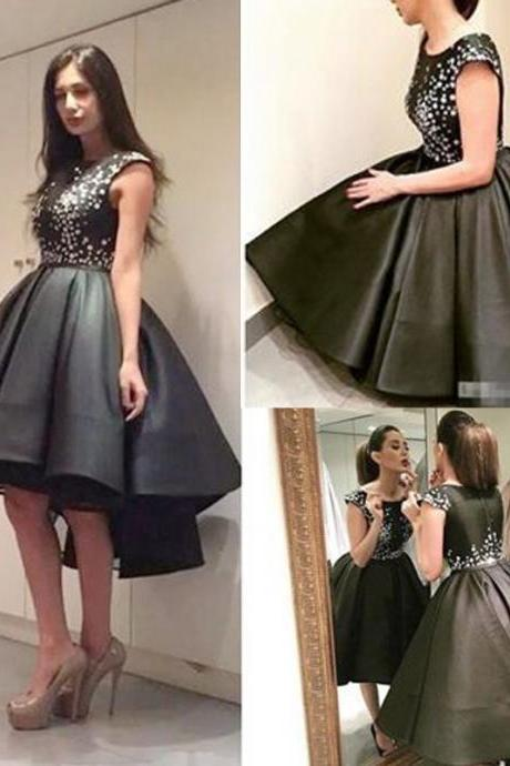 Black Homecoming Dress, High Low Prom Dress, Rhinestones Homecoming Dress, Little Black Dresses, Short Homecoming Dress, Cocktail Party Dresses, Vintage Homecoming Dress, Cap Sleeve Prom Dress, Prom Dresses 2017, Homecoming Dresses Cheap, Graduation Dresses 2016