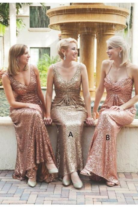 Gold Sequin Bridesmaid Dress, Rose Sequin Bridesmaid Dress, Mismatched Bridesmaid Dresses, Sparkly Bridesmaid Dress, Long Bridesmaid Dress, Cheap Bridesmaid Dress, Bridesmaid Dresses 2017, Wedding Guest Dresses