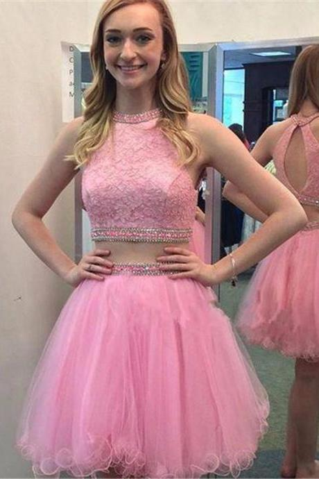 2 Piece Homecoming Dresses, Pink Homecoming Dress, Puffy Homecoming Dress, Short Homecoming Dress, Rhinestones Homecoming Dress, Cheap Graduation Dress, Cocktail Dresses 2017, Lace Homecoming Dress