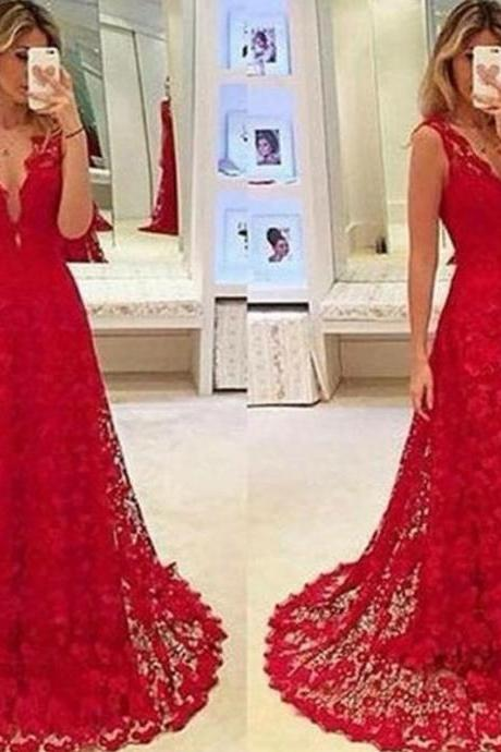 Red Prom Dresses, Lace Prom Dresses, V Neck Prom Dresses, A Line Prom Dresses, 2017 Prom Dresses, Red Evening Dresses, V Neck Evening Gowns, 2017 Special Occasion Dresses, A Line Formal Dresses, 2017 Vestidos de Fiesta, A Line Party Dresses, Sexy Prom Dresses