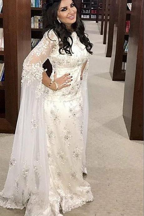 Long Sleeve Prom Dresses, Sashes Evening Dresses, Crew Neckline Prom Dresses, 2017 Lace Prom Dress, White Prom Dresses, Mermaid Prom Dress, Special Occasion Dresses, New Arrival Evening Dresses, Sexy Prom Dress, Lace Evening Dresses, Long Sleeve Formal Dress, White Special Occasion Dresses