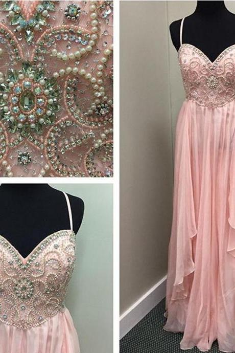 Pink Prom Dresses, Sweetheart Prom Dresses, Pearls Prom Dresses, Lace Prom Dresses, Chiffon Prom Dresses, A Line Prom Dresses, Arabic Prom Dresses, New Evening Dresses, Lace Evening Dresses, Vestidos de Fiesta Evening Dresses, 2017 Formal Dresses, Special Occasion Dresses, Chiffon Party Dresses