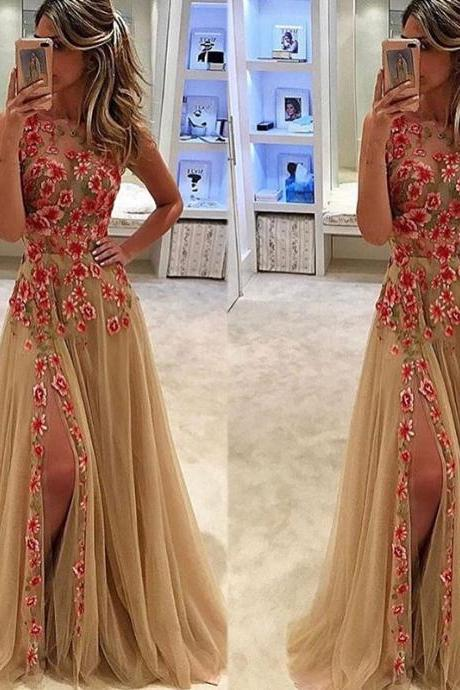 Lace Prom Dresses, Champagne Prom Dresses, Crew Neck Prom Dresses, Champagne Prom Dresses, Lace Prom Dresses, Side Slit Prom Dresses, A Line Prom Dresses, 2017 Evening Dresses, A Line Evening Gowns, Sexy Evening Dress, Newest Evening Gowns, Tulle Evening Dresses, Fashion Evening Gowns, 2017 Evening Party Dress, Women Party Dresses