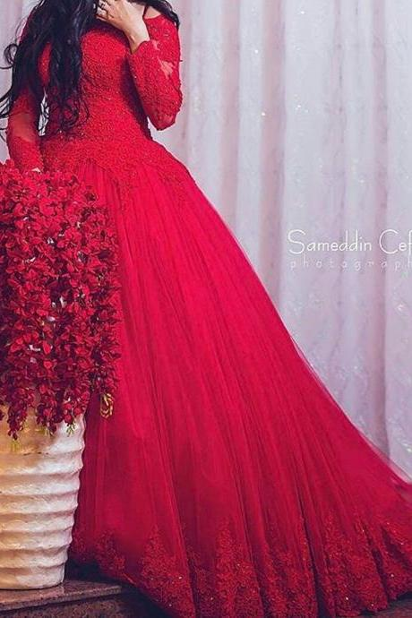 Red Prom Dresses, Crew Neckline Prom Dresses, Long Sleeve Prom Dresses, Lace Appliques Prom Dresses, Ball Gown Prom Dresses, Arabic Prom Dresses, Red Prom Dress, Tulle Prom Dresses, Lace Evening Dresses, Arabic Prom Dresses, Cheap Evening Gowns