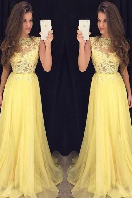 Yellow Prom Dresses, Sheer Crew Neckline Prom Dresses, Lace Prom Dresses, 2017 Fashion Evening Dresses, Elegant Lace Prom Dress, Chiffon Evening Dresses, Sexy Evening Dress, Fashion Evening Gowns, Arabic Prom Dresses