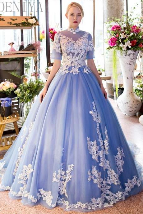 Elegant Half Sleeve Prom Dresses, 2017 Blue Prom Dresses, High Neck Prom Dress, Lace Appliques Evening Dresses, Ball Gown Prom Dress Gowns. New Arrival Formal Dresses, Long Women Party Dresses