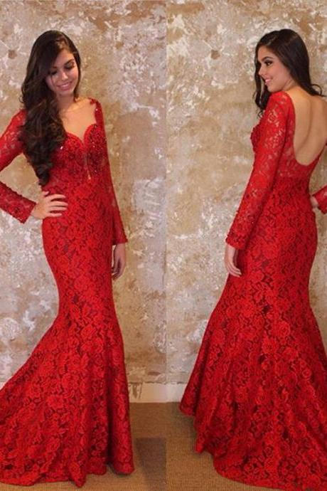 Vintage Red Prom Dresses, Lace Prom Dress, Elegant Long Sleeve Prom Dress, Sweetheart Neckline Evening Dresses, Red Evening Gowns, Sexy 2017 Evening Dress, New Arrival Party Dresses, 2017 Formal Dresses, Cheap Lace Women Spring Dresses