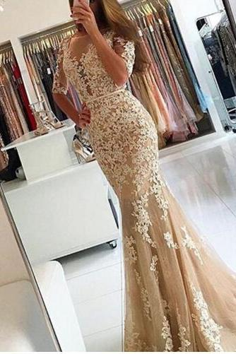 Champagne Prom Dresses, Lace Prom Dresses, Cheap Evening Dresses, 2017 Special Occasion Dresses, Newest Prom Dresses, Long Sleeve Prom Dress, Mermaid Formal Dresses, Arabic Evening Dresses, Champagne Prom Dress