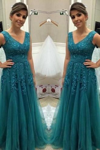 Vintage Prom Dresses, Lace Prom Dresses, Green Tulle Prom Dress, A Line Prom Dresses, Lace Appliques Prom Dresses, Sexy Evening Dresses, Green Evening Dress, Tulle Evening Dress, A Line Formal Party Dresses