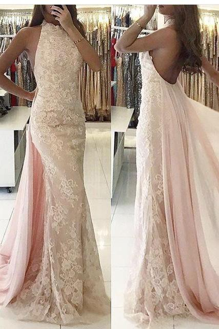 Lace Prom Dresses, Mermaid Prom Dresses, 2017 Pink Prom Dresses with Lace Appliques, Crew Neckline Evening Dresses, Backless Prom Dresses, Vintage Evening Dresses, Sexy Party Dresses, 2017 Formal Women Dresses