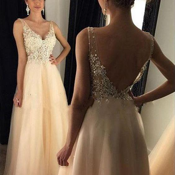 V Neck Prom Dresses, Lace Prom Dress, A Line Prom Dresses, Arabic Evening Dresses, Peach Evening Dresses, 2017 Formal Dresses, Lace Evening Gowns, Cheap Evening Dresses, New Arrival Party Dresses, Sexy Evening Gowns, Backless Prom Dresses, Floor Length Lace Evening Gowns, Vestidos de Fiesta 2017