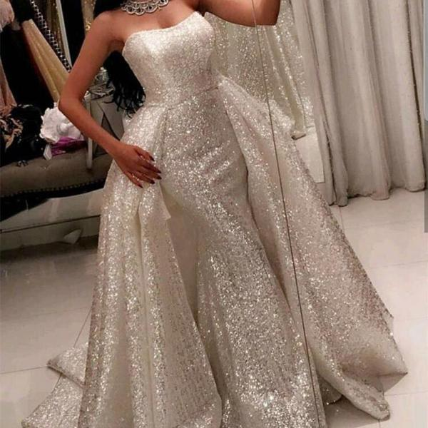 sequins prom dresses, detachable train prom dress, bling bling prom dress, sweetheart prom dress, sparkly prom dresses, ball gown prom dress, cheap prom dresses, arabic evening dresses, newest evening dresses, 2018 arabic formal dresses, sexy women party dresses
