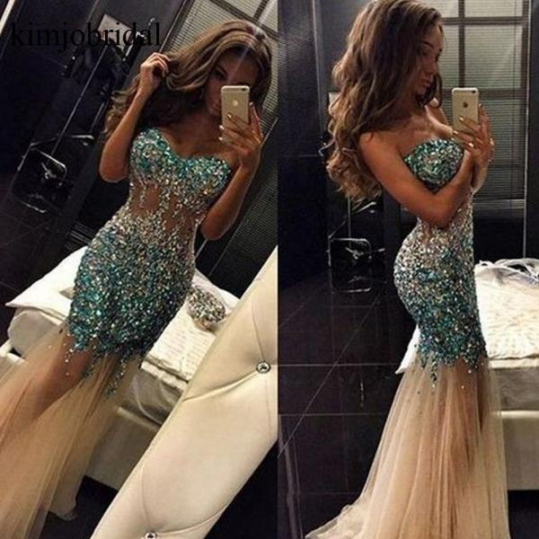 Mermaid Prom Dresses, Champagne Prom Dresses, Crystal Prom Dresses, Sexy Prom Dresses, Tulle Evening Dresses, Sheer Prom Dresses, Sweetheart Prom Dresses, Backless Evening Dresses, Illusion Prom Dresses