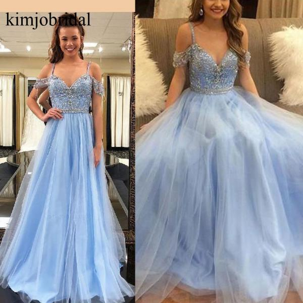 Blue Prom Dresses, Crystal Evening Dresses, Lace Evening Dresses, Custom Make Evening Gowns, Cheap Formal Dresses, 2019 Formal Dresses, New Arrival Party Dresses, Formal Dresses, 2019 Evening Dresses