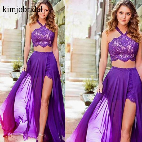 two pieces prom dresses, lace evening dresses, chiffon prom dresses, evening gowns, purple prom dresses, new evening gowns, cheap party dresses, custom make formal dresses, 2019 evening dresses
