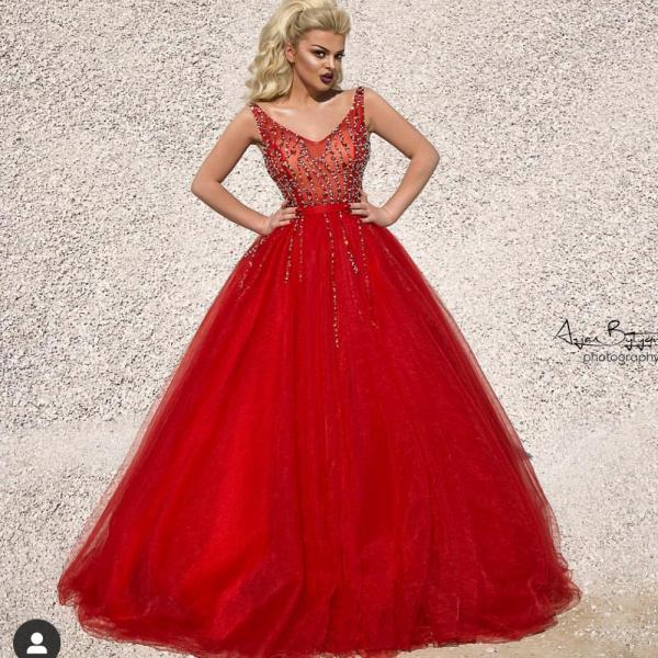 red prom dresses 2019 deep v neck crystal tulle ball gown beaded floor length evening gowns arabic party dresses