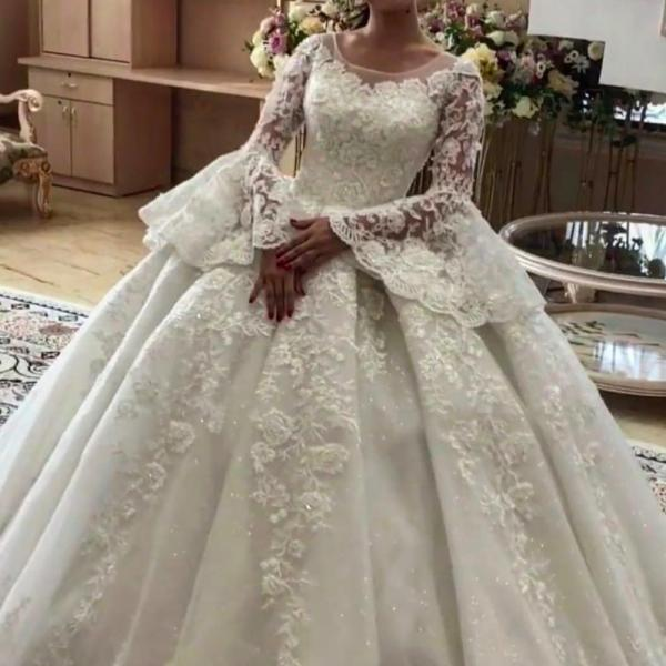 ball gown wedding dresses, 2020 wedding dresses, long sleeve wedding dresses, vestidos de noiva, 2020 bridal dresses, long sleeve wedding dresses, custom make wedding dresses, wedding gowns, lace wedding dress, ball gown bridal dress, pearls wedding dress