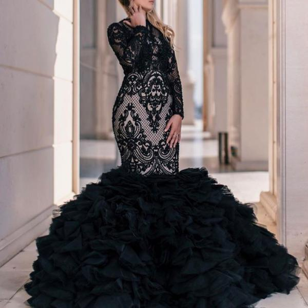 black prom dresses, lace prom dresses, long sleeve prom dresses, ruffle prom dresses, evening dresses, black party dresses, long sleeve evening dresses, ruffle prom dresses, 2020 evening gowns, vestidos de fiesta, mermaid evening dresses