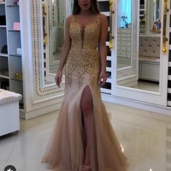 champagne prom dresses, sweetheart prom dresses, side slit prom dresses, beaded prom dresses, lace prom dresses, mermaid prom dresses, sweetheart evening dresses, elegant prom dresses, appliques prom dresses, evening dress, 2020 evening dresses, formal dresses, 2020 party dresses, sexy homecoming dresses, custom make party dresses, tulle evening dresses