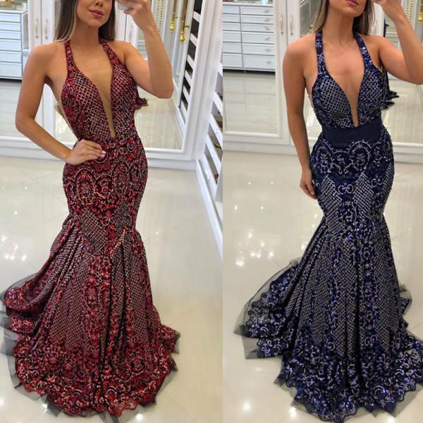 lace prom dresses, 2020 prom dresses, deep v neck prom dresses, mermaid prom dresses, backless prom dresses, sparkly prom dresses, sequins prom dresses, mermaid evening dresses, burgundy prom dresses, royal blue prom dresses, fashion evening dresses, party dresses, lace homecoming dress, custom make evening gowns, long evening dresses, elegant formal dresses, women prom dresses