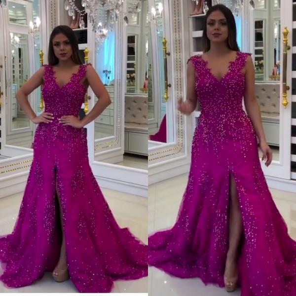 fuchsia prom dresses, lace prom dresses, side slit prom dresses, mermaid prom dresses, arabic prom dresses, evening dresses, 2020 formal dresses, lace party dresses, cheap evening dresses, v neck prom dresses, sexy slit prom dresses, red evening dress, elegant prom dresses, sexy prom dresses, arabic party dress, women formal dresses, sexy party dresses