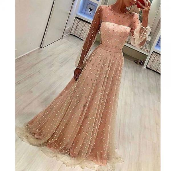 pearls prom dresses, pink prom dresses, long sleeve prom dresses, beaded prom dresses, long sleeve evening dresses, a line prom dresses, formal dresses, beaded prom dresses, pearls formal dresses, crew neckline prom dresses, pearls evening dress, cheap evening dresses