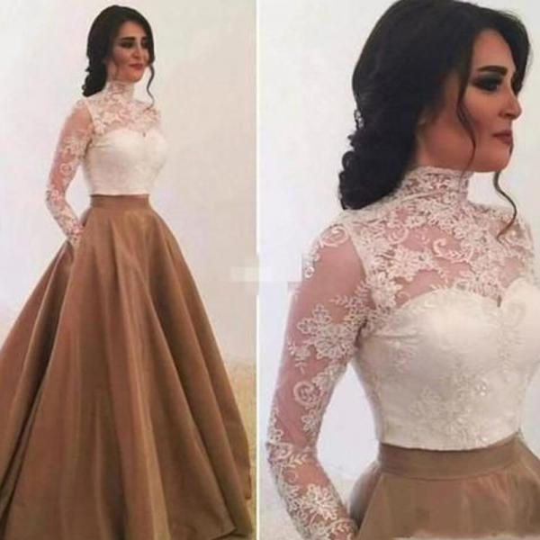 lace prom dresses, long sleeve prom dresses, white prom dresses, high neck prom dresses, ball gown prom dresses, satin evening dresses, party dresses, lace evening gowns, formal dresses, arabic prom dersses, satin evening dresses, 2020 formal dresses, lace party dresses, ball gown evening dresses