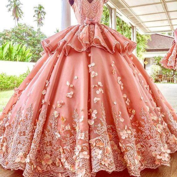 ball gown prom dresses, pink prom dress, lace prom dresses, flowers prom dresses, arabic prom dresses, sheer crew neck prom dress, bowknot prom dresses, ruffle prom dresses, lace evening dresses, satin prom dresses, cap sleeve prom dresses, flowers party dress