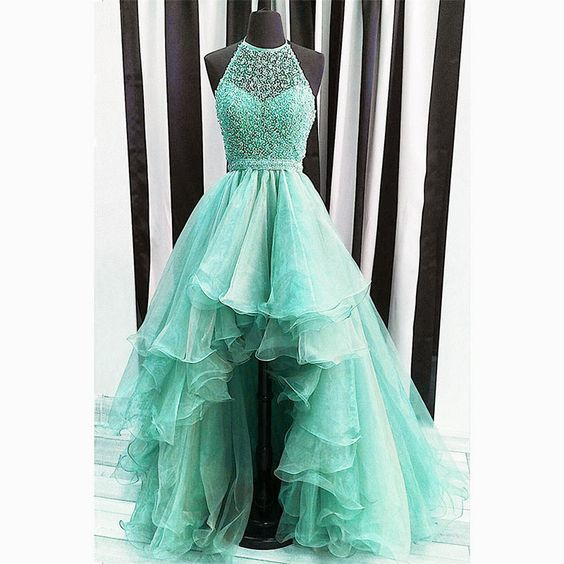 high front and low back prom dresses, organza prom dresses, beaded prom dresses , ruffle prom dresses, organza prom dresses, hi-lo prom dresses, high low evening dresses, 2020 evening dresses, arabic party dresses, blue prom dresses, beading evening dress, halter prom dress