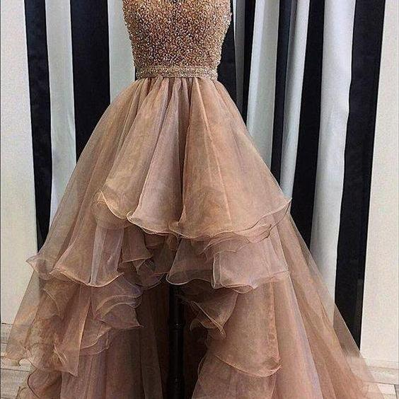 beaded prom dresses, halter evening dresses, high front and low back prom dress, ruffle prom dress, organza prom dresses, beading evening dresses,halter prom dresses, cheap prom dresses, arabic party dresses, vestidos de fiesta, organza formal dresses