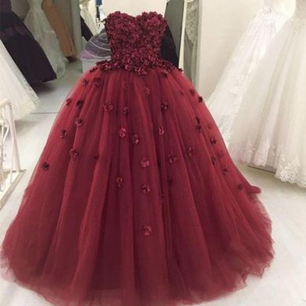 burgundy prom dresses, 2020 prom dresses, flowers evening dresses, 3d flowers prom dresses, evening dresses, burgundy evening dresses, hand made flowers evening dresses, ball gown evening dresses, cheap party dresses, sexy prom dresses, cheap evening dress, evening gowns, formal dress