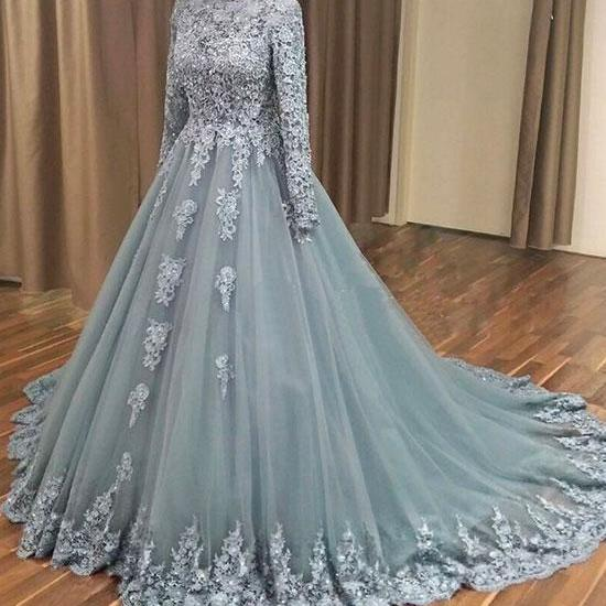 sliver prom dresses, ball gown prom dresses, long sleeve prom dresses, lace evening dresses, arabic prom dresses, long sleeve formal dresses, sliver party dresses, lace evening dresses, 2020 evening dresses, cheap evening gowns, beaded prom dresses, beading evening gowns, tulle formal dresses