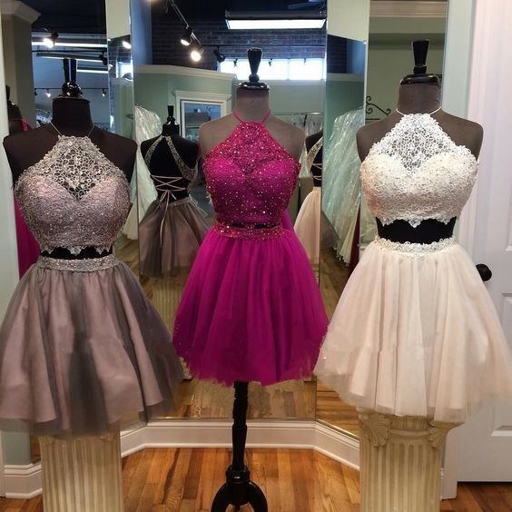 two pieces prom dresses, satin evening dresses, lace formal dresses, arabic party dresses, new arrival evening dresses, short prom dresses, short homecoming dresses, short cocktail dresses, new arrival party dresses, halter formal dresses, cheap party dresses, custom make evening gowns