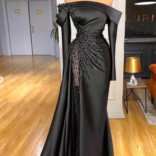 black prom dresses 2021, one shoulder prom dresses, feather prom dresses, black evening dresses, long sleeve prom dresses, side slit prom dresses, custom make formal dresses, evening dresses, 2021 party dresses