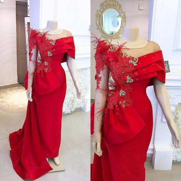 red prom dresses, feather prom dresses, long sleeve prom dresses, red evening dresses, fashion party dresses, fashion evening gowns, cheap party dresses, arabic evening dresses, new arrival evening dresses