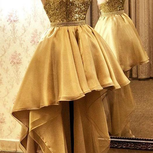 gold prom dresses, high front and low back evening dresses, sequins prom dresses, organza evening dresses, gold formal dresses, evening dresses,cheap formal dresses, evening dresses, sparkly evening dresses