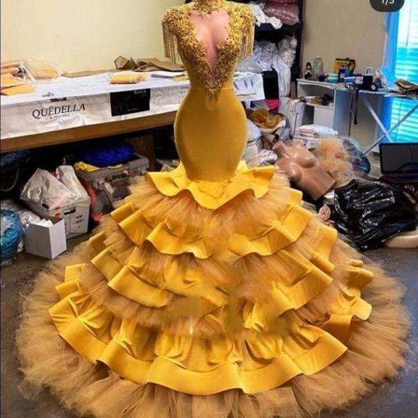 yellow prom dresses, high neck prom dresses, tiered prom dress, ruffle prom dresses, tassel prom dresses, mermaid evening dresses, 2021 party dresses, cheap evening dresses, 2021 formal dress, cheap evening dresses