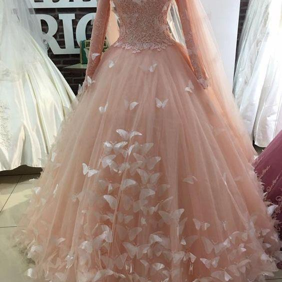 pink prom dresses, 2021 prom dresses, 2021 formal dresses, flowers prom dresses, long sleeve prom dresses, 2021 evening dresses, long sleeve evening dresses, arabic prom dress, evening dresses, cheap party dresses, muslim prom dresses
