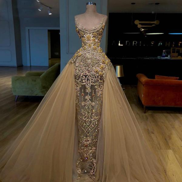 gold prom dresses, detachable prom dress, sequins prom dress, sheath evening dresses, fashion evening gowns, lace evening dresses, vestidos de fiesta, 2021 party dresses, custom make evening dress, 2021 prom dress
